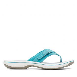 Clarks Womens Brinkley Sea Aqua Synthetic Sandals
